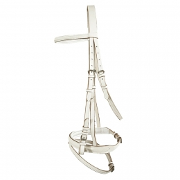 Snaffle Bridle, white leather