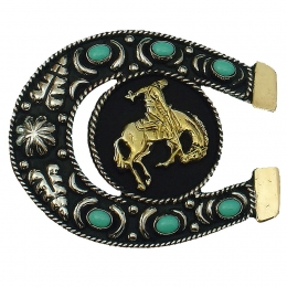 "Belt Buckle ""Bronco in a Horseshoe"""