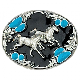 "Belt Buckle ""Running Horses"""