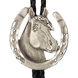 "Bolo Tie ""Horsehead in Horseshoe"""