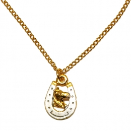 "Necklace ""Two tone Horseshoe n' Horsehead"""