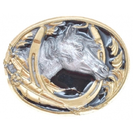 "Belt Buckle ""Horseshoe & Horsehead"""