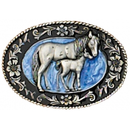 Small Mare and Colt Belt Buckle