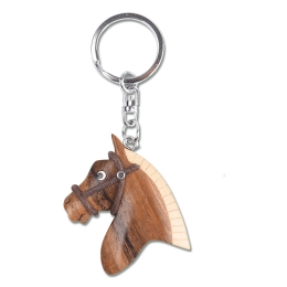 Wooden Horsehead Key Ring