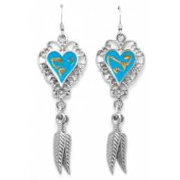 Heart Earrings with Feathers