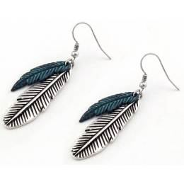 "Earrings ""Silver and Turquoise Feathers"""