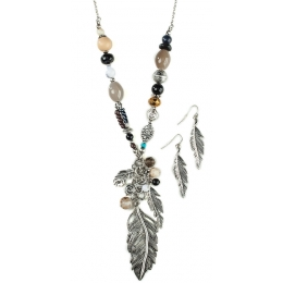 "Necklace and Earrings ""Feather and Neutral Beads"""