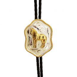 """Bolo Tie """"Golden-Silver Horse"""""""