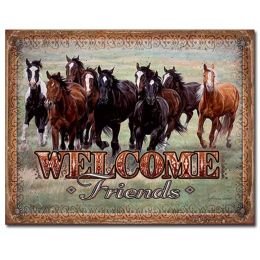 "Tin Sign ""Welcome Friends"""