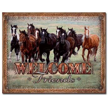 """Tin Sign """"Welcome Friends"""""""