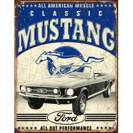 "Tin Sign ""Classic Ford Mustang"""