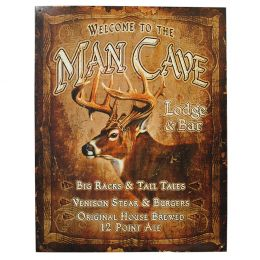"Tin Sign ""Man Cave with Buck"""