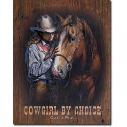 "Tin Sign ""Cowgirl Gotta Ride"""