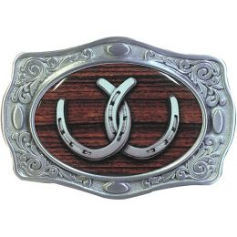 "Belt Buckle ""2 horseshoes"""