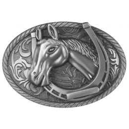 "Belt Buckle ""Horsehead in Horseshoe"""