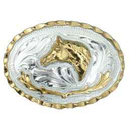 "Belt Buckle ""Golden Horsehead"""